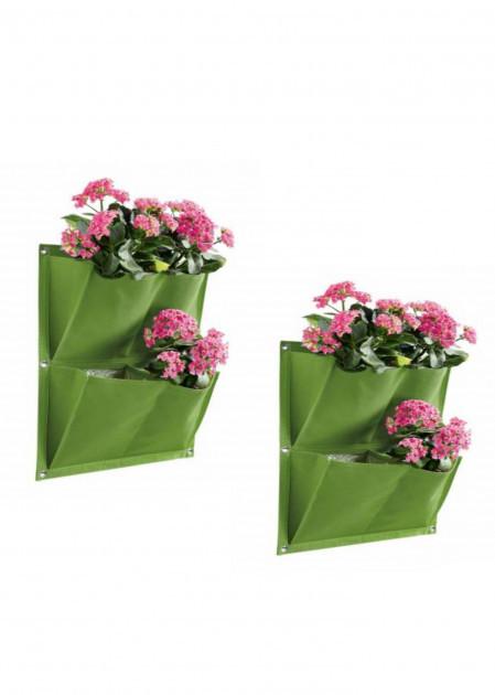 Кашпо тканинне підвісне Florabest 2 шт 38 * 44см, зелене, 0882