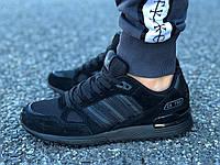 Кроссовки мужские черные Adidas ZX 750 сетка реплика