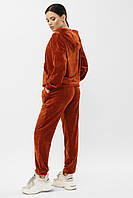 Велюровый терракотовый спортивный костюм с капюшоном и карманами, размеры S/M