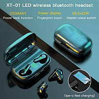 Беспроводные наушники XT-01 TWS Черные Bluetooth сенсорные HD Stereo Heavy Bass PowerBank.