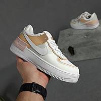 Женские кроссовки Nike Air Force 1 Shadow (белые с с бежевым) O20326 повседневные светлые кроссы