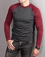 Мужской casual серый свитшот с рукавами реглан ( три цвета )