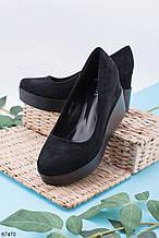 Туфли женские черные эко замш на танкетке 6 см