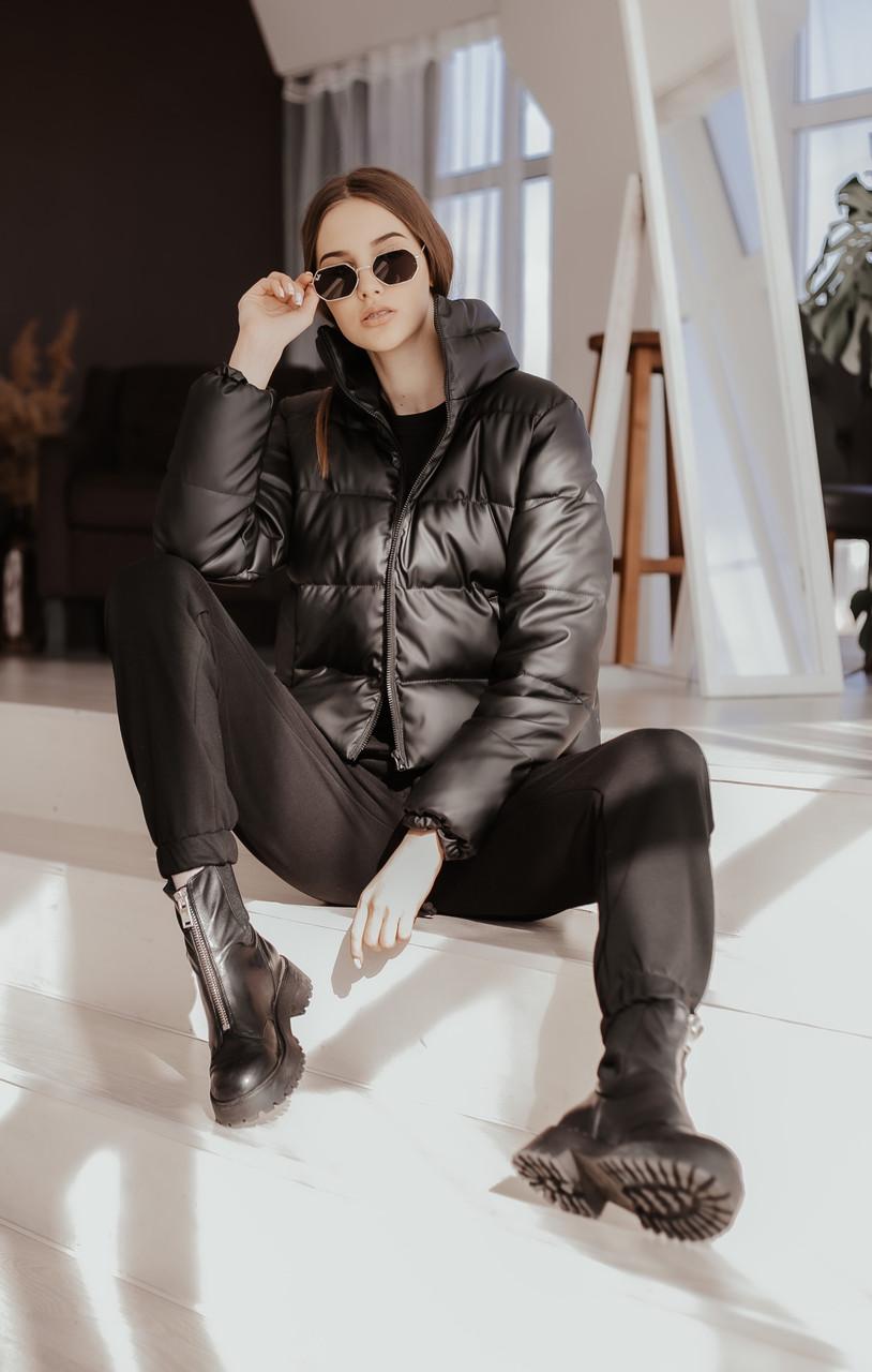 Куртка жіноча шкіра пуховик укорочений весняний | осінній 'Bubble' від Intruder чорний