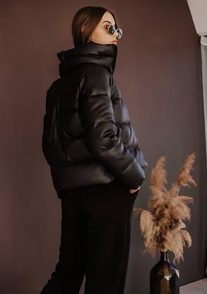 Куртка жіноча шкіра пуховик укорочений весняний | осінній 'Bubble' від Intruder чорний, фото 2