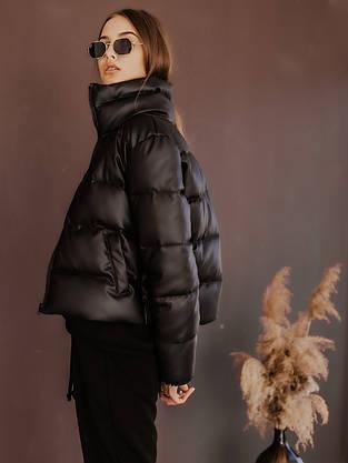 Куртка жіноча шкіра пуховик укорочений весняний | осінній 'Bubble' від Intruder чорний, фото 3