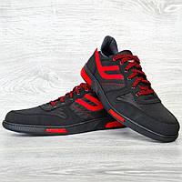 Кроссовки мужские черные + красные вставки (Сгк-7-2чр)