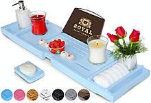 Столик для ванны ROYAL CRAFT WOOD Luxury, бамбуковый, голубой