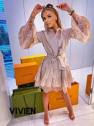 Платье полу-свободного кроя с кружевом/ арт.1292