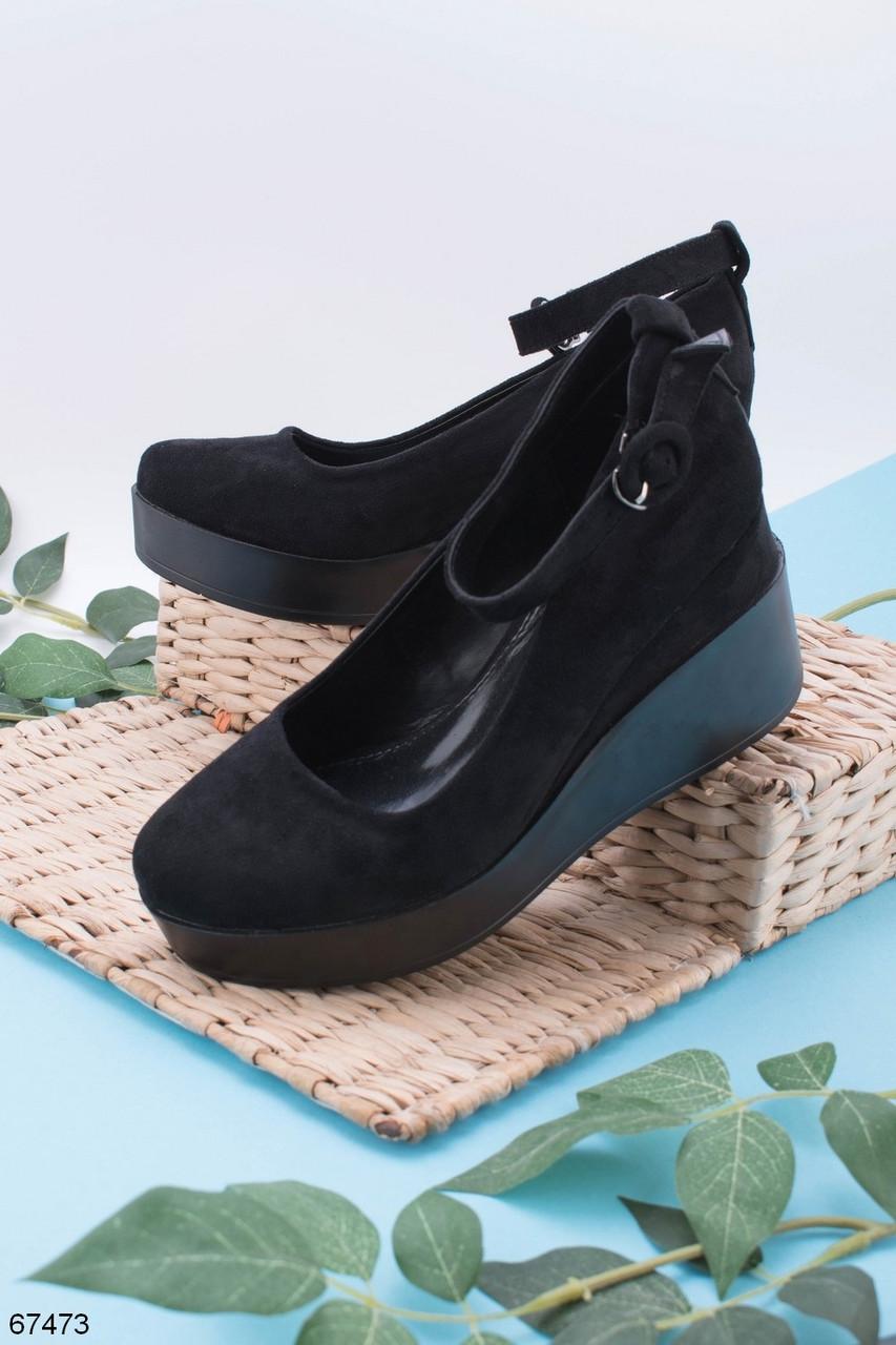 Туфли женские черные эко замш на танкетке 6,5 см