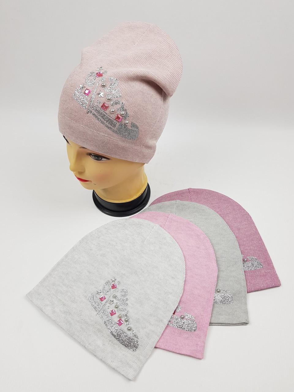 Детские демисезонные вязаные шапки для девочек оптом, р.50-52, ANPA (m9)