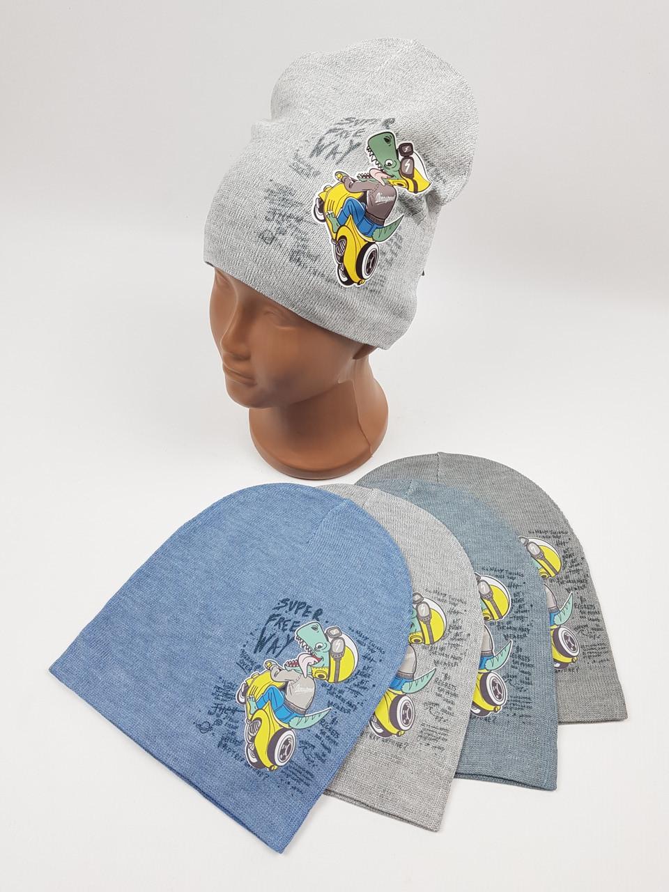 Детские демисезонные вязаные шапки для мальчиков оптом, р.48-50, ANPA (m83)