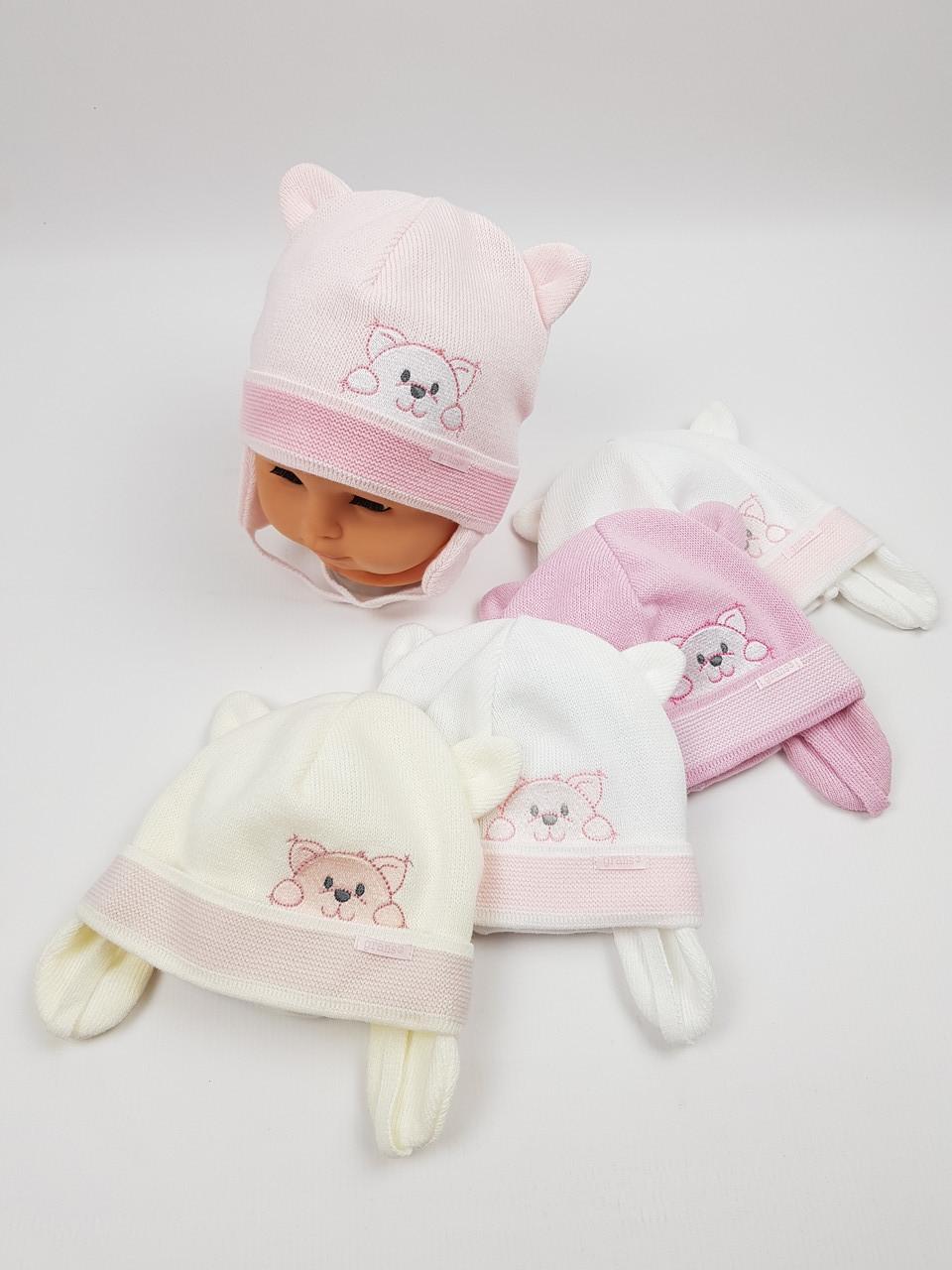 Дитячі польські демісезонні в'язані шапки на трикотажній підкладці оптом для дівчат, р.40-42, Grans
