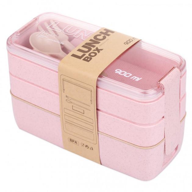 Ланч бокс потрійний Yjj-1230 5620 900мл, рожевий