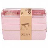 Ланч бокс потрійний Yjj-1230 5620 900мл, рожевий, фото 2