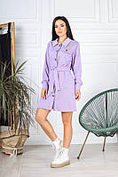 Женское стильное платье халат с поясом вельвет