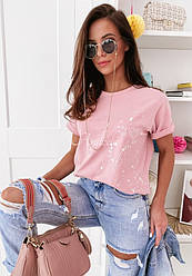 Жіноча хлопкавая футболка з принтом