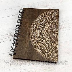 """Деревянный блокнот А5. Дизайн """"Мандала"""". Листы цвета """"слоновая кость"""" в точку.Цвет обложки палисандр"""