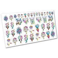 Слайдер-дизайн наклейки на ногти для маникюра водные Перья №1029