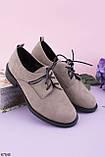 Стильные туфли женские серые / кофейные на шнуровке эко-замш, фото 2
