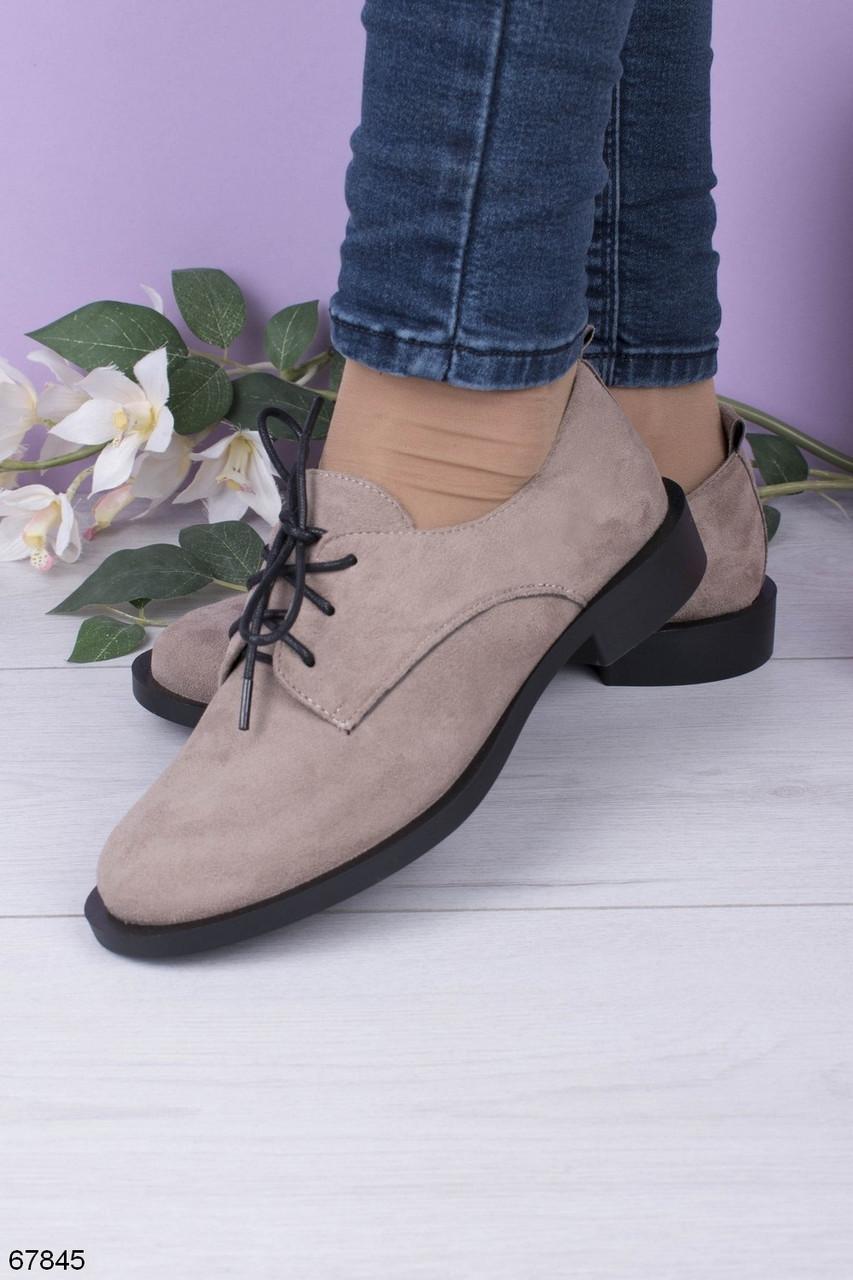 Стильные туфли женские серые / кофейные на шнуровке эко-замш