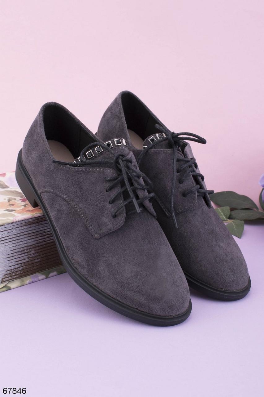 Стильні туфлі жіночі сірі на шнурівці еко-замш