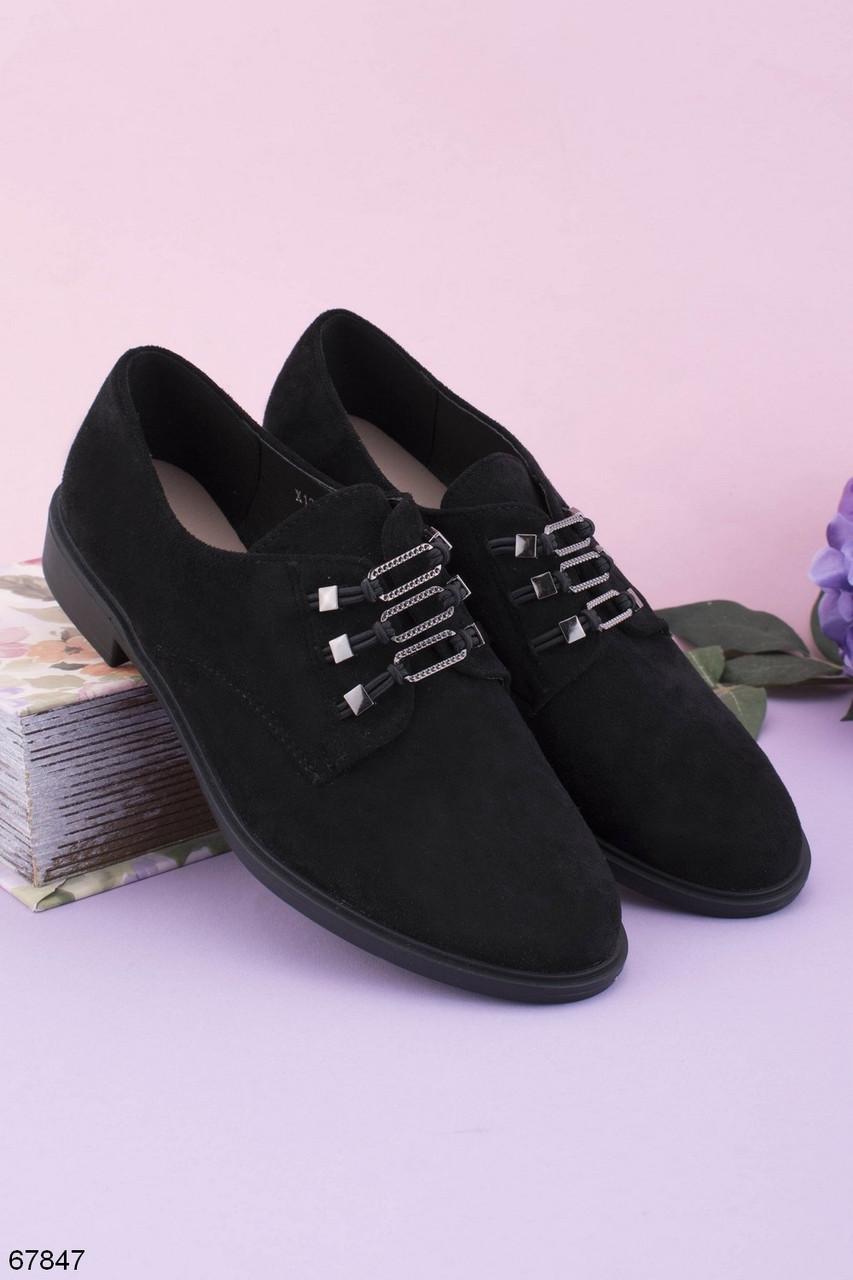 Женские туфли черные на шнуровке- резинке эко замш