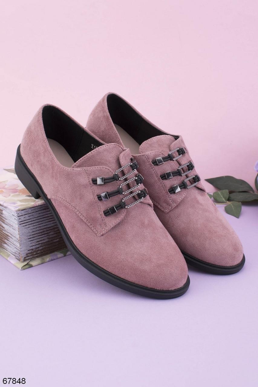Стильные туфли женские бежево - пудровые на шнуровке эко-замш