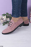 Стильные туфли женские бежево - пудровые на шнуровке эко-замш, фото 2