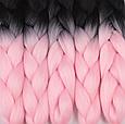Канекалон Омбре різнокольоровий Палітра 80 кольорів Довжина 60 ± 5 см Вага 100 ± 5 г Термостійкий коса Jumbo, фото 6
