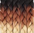 Канекалон Омбре різнокольоровий Палітра 80 кольорів Довжина 60 ± 5 см Вага 100 ± 5 г Термостійкий коса Jumbo, фото 10