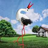 Лелека для саду, чорногуз садовий, декоративна лелека 50х22 см кераміка+метал, фото 2