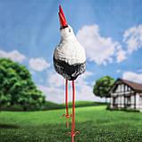 Лелека для саду, чорногуз садовий, декоративна лелека 50х22 см кераміка+метал, фото 3