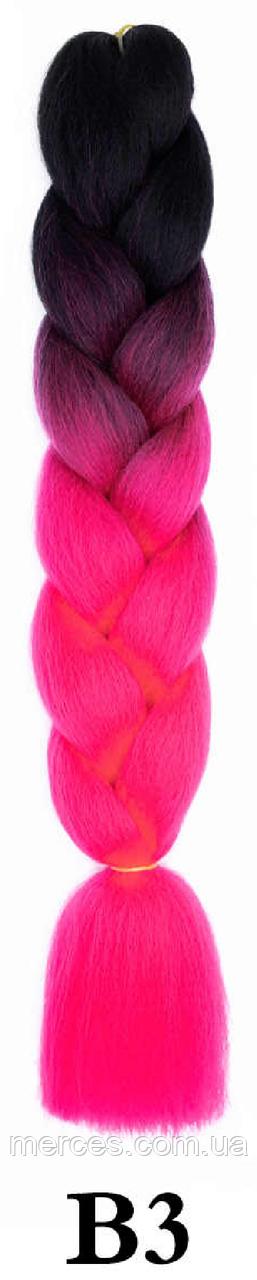 Канекалон чорний + рожевий теплий А14 Довжина 60 ± 5 см Вага 100 ± 5 г Термостійкий омбре двокольоровий коса