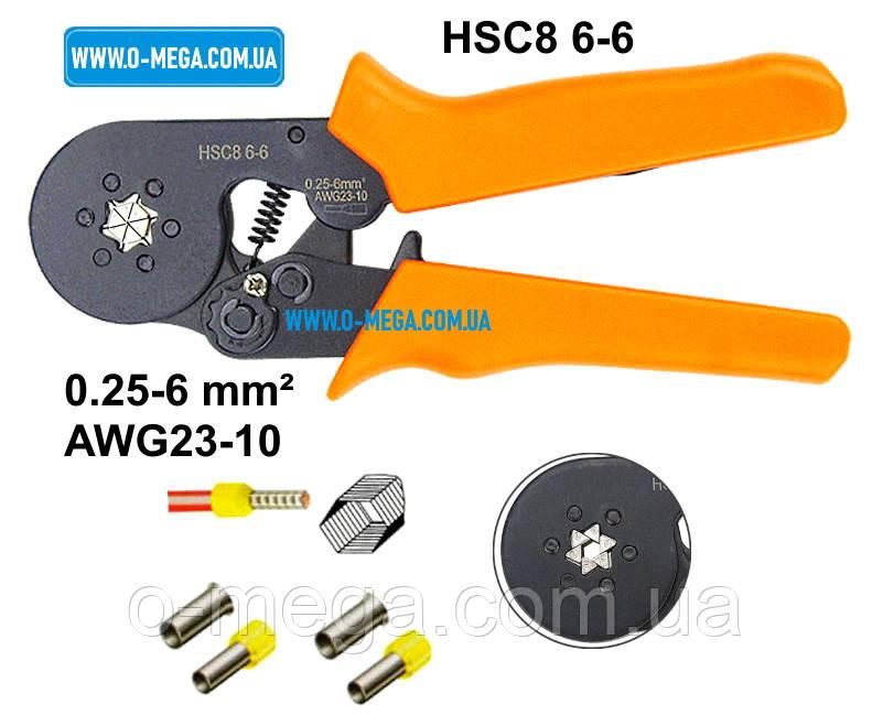 Клещи механические HSC8 6-6 для опрессовки втулочных (трубчатых, гильзовых) наконечников 0,25-6,0 мм²