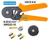 Клещи механические HSC8 6-6 для опрессовки втулочных (трубчатых, гильзовых) наконечников 0,25-6,0 мм², фото 1