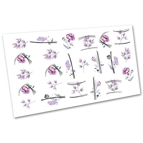 Декор для маникюра Слайдер дизайн Листочки и веточки №1561