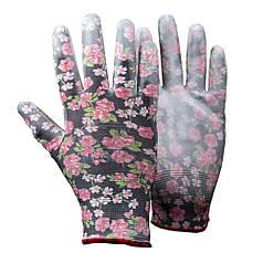 Перчатки трикотажные с частичным ПУ покрытием р7 (черные манжет) SIGMA (9446481)