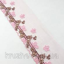 Ажурное кружево вышивка на сетке: розовая, коричневая, желтая нить по розовой сетке, ширина 11 см