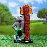 """Садовий декор Вовк з табличкою """"Заходи если что"""" 34 см кераміка, фото 3"""
