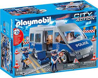 Playmobil 9236 - Полицейский автобус с блокпостом Police Bus With Street Barrier