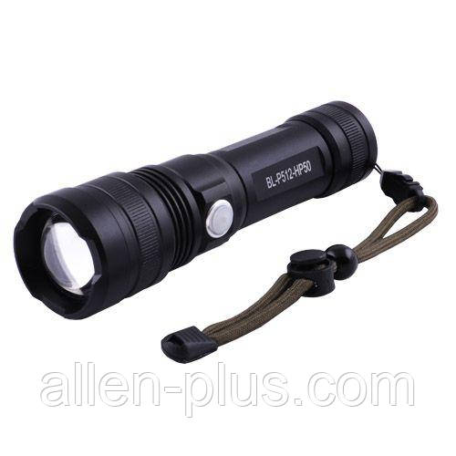 Фонарь ручной BL-P512-HP50, аккумулятор 18650/26650, microUSB, zoom