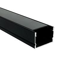 КОМПЛЕКТ!!! (профиль аллюминиевый LED ЛП-20 + рассеиватель матовый), черный. палка 2м