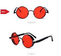 Красные очки круглые стимпанк с кожаным чехлом