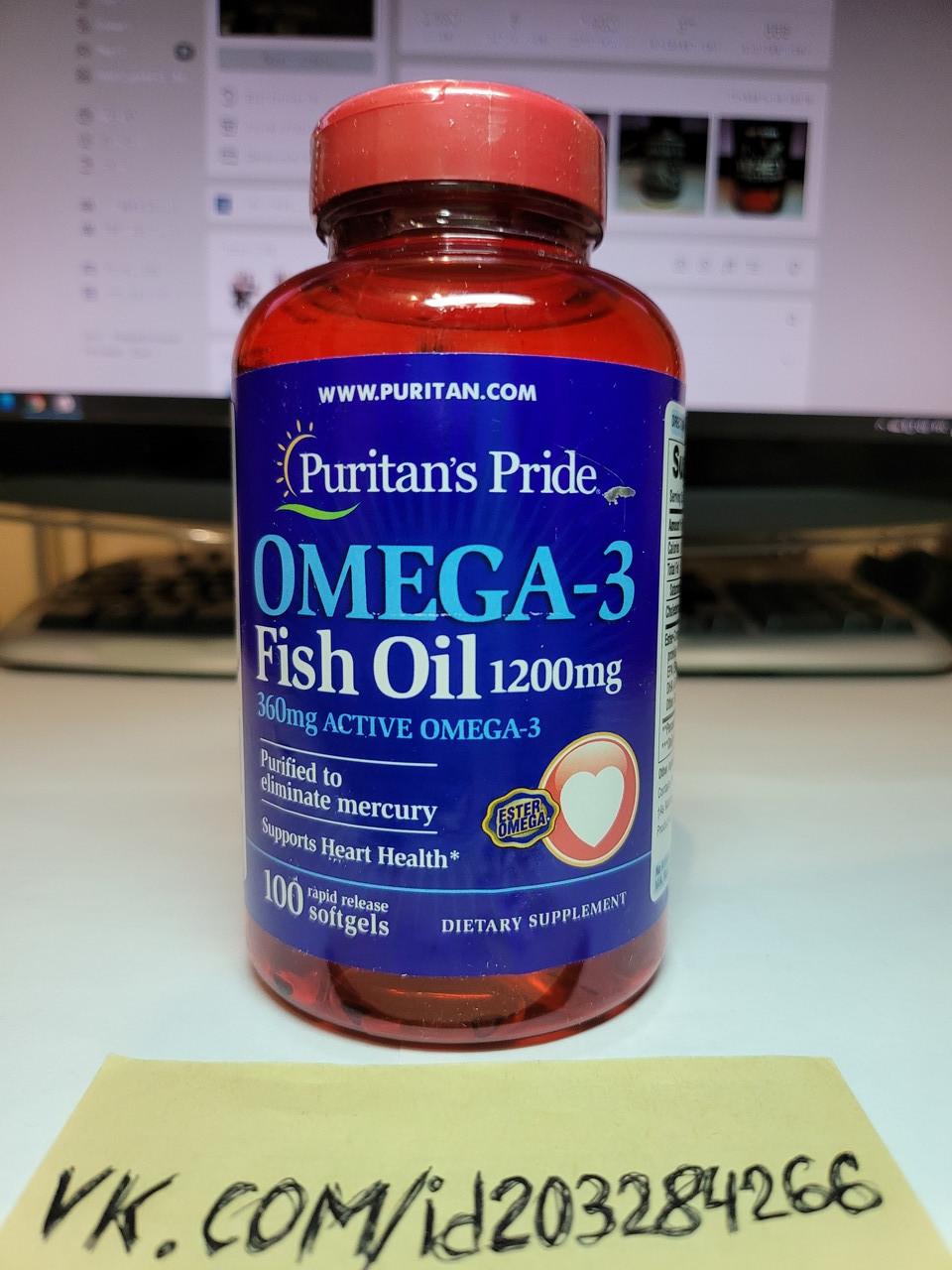 Омега 3 Puritan's Pride Omega-3 Fish Oil 1200 mg 100 softgels пуританс прайд рыбий жир жирные кислоты витамины