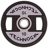Млинці (диски) поліуретанові з хватом і металевою втулкою d-51мм TECHNOGYM 10кг, фото 2