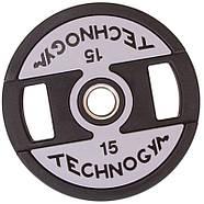 Млинці d-51мм TECHNOGYM 15кг (диски) поліуретанові з хватом і металевою втулкою, фото 2