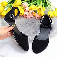 Женские открытые туфли балетки замшевые с закругленным носом и ремешком черные BleХ