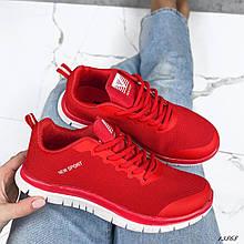 Женские кроссовки текстильные красные