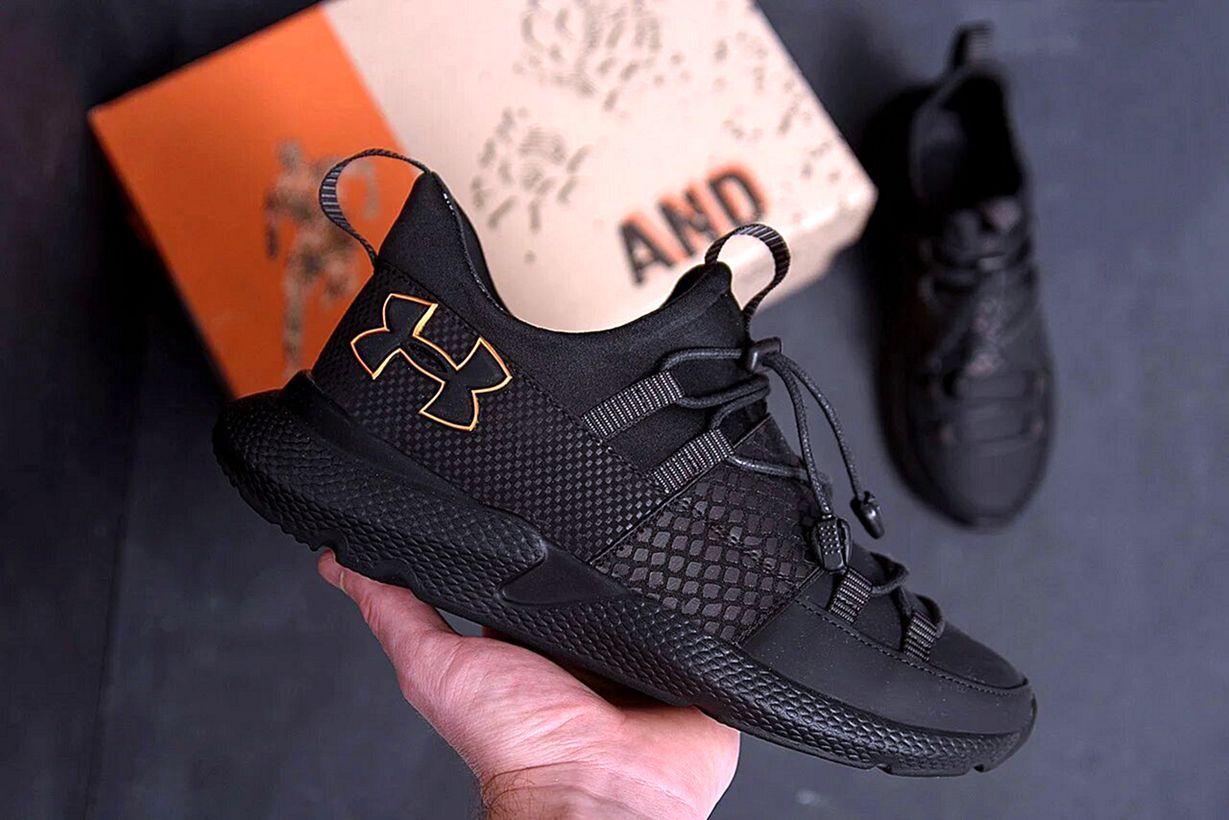Мужские кожаные черные кроссовки Under